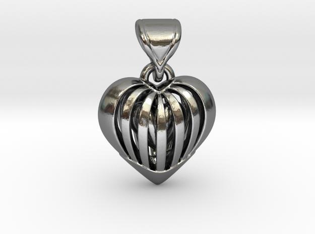 Coeur en cage in Interlocking Polished Silver