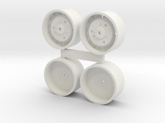 "1/64 Deere 38"" Wheels and Dual rims in White Natural Versatile Plastic"