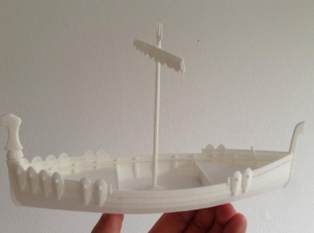 Medieval Russian Warship, with shields and open ca 3d printed