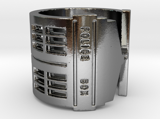 Dr. Who Tardis Overturned Ring in Polished Silver