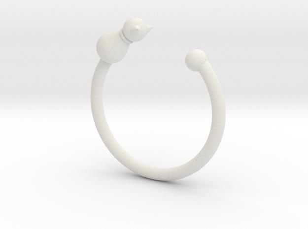 貓戒指.stl in White Strong & Flexible