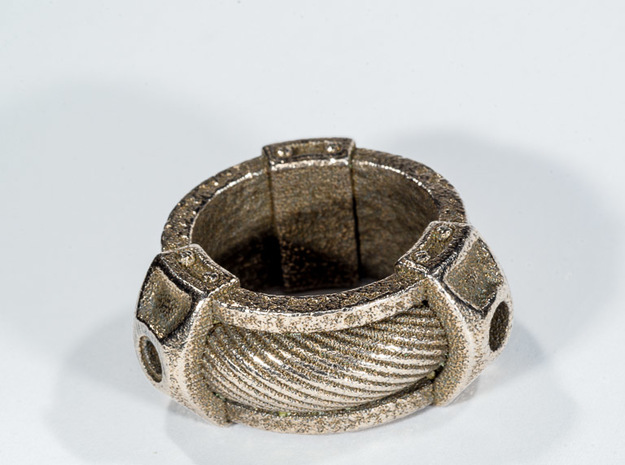 Cable Ring 3d printed Polished Stainless Steel