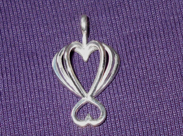Heart As Open Book Pendant in Polished Silver