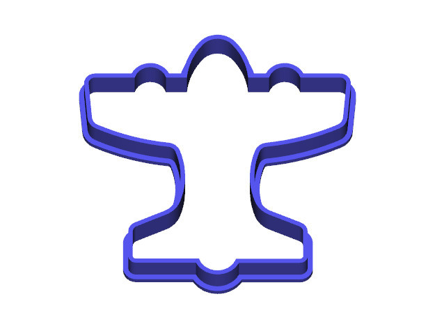 Airplane Cookie Cutter in Blue Processed Versatile Plastic