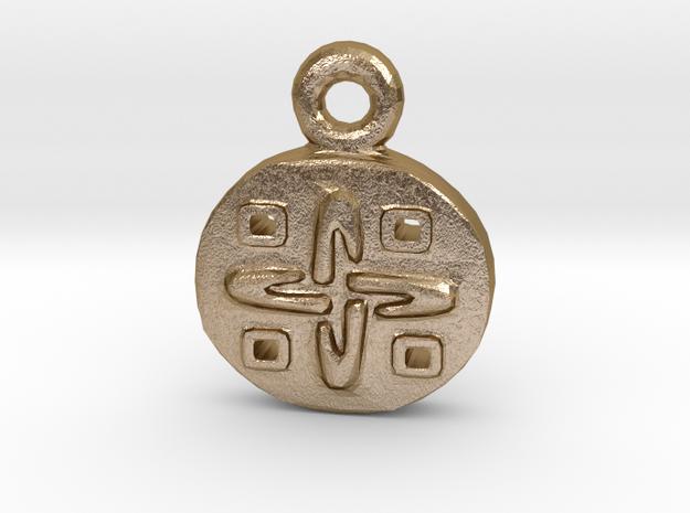 Aztec Gold-Design Pendant in Polished Gold Steel