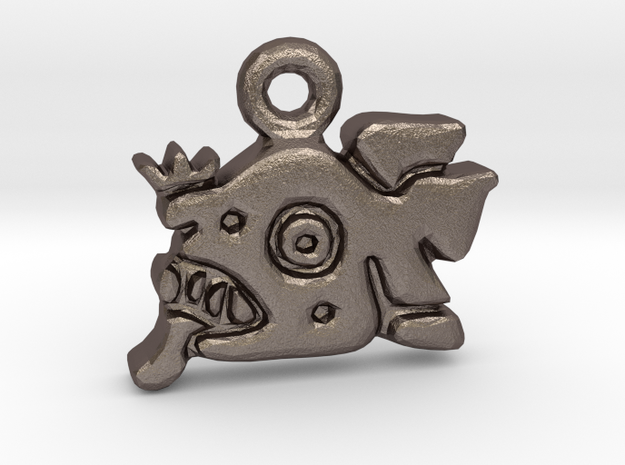 Mayan Jaguar Pendant in Polished Bronzed Silver Steel