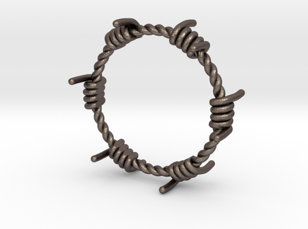 Wired Ring in Polished Bronzed Silver Steel: 8 / 56.75