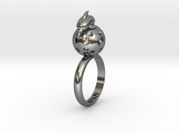 Dolphin Moon Ring in Polished Silver