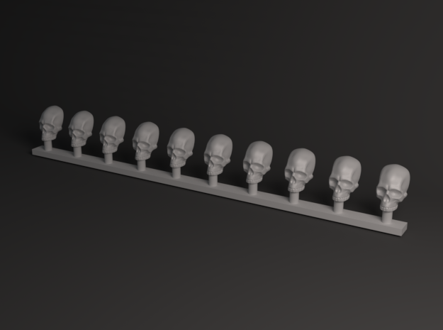 Miniature Skulls 28 mm in Smooth Fine Detail Plastic