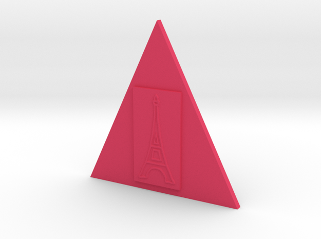 Eiffel Tower In A Triangle Button in Pink Strong & Flexible Polished