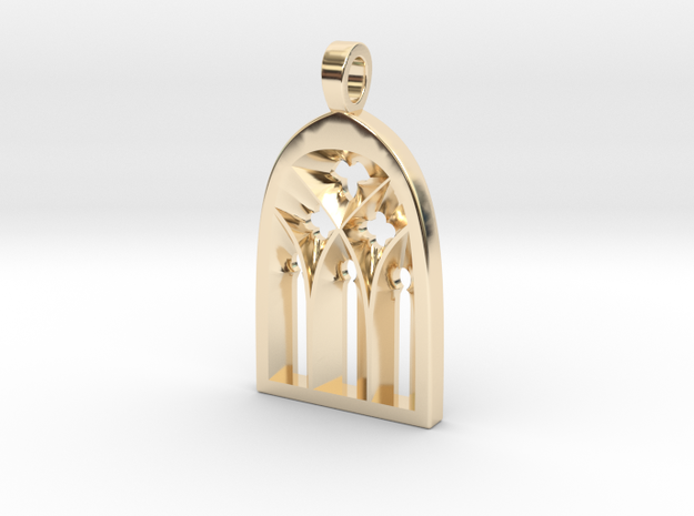 Cathedral Pendant in 14k Gold Plated Brass