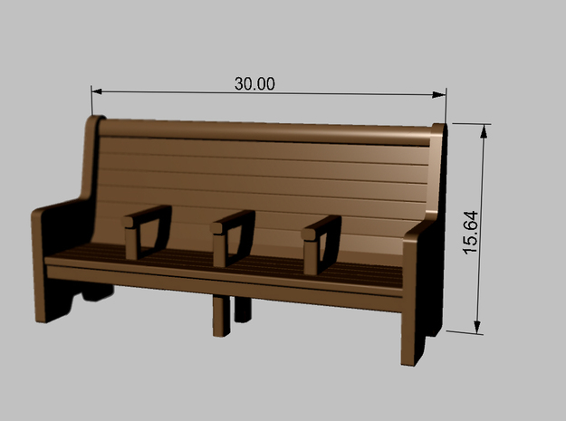 Bench type C - 1:87 scale 4 Pcs set  3d printed