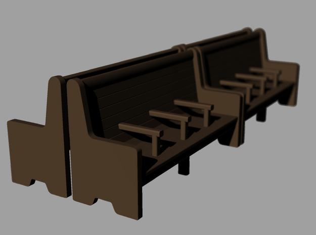 Bench type C - 00 ( 1:76 scale ) 4 Pcs set 3d printed