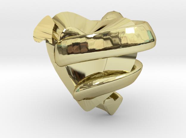 Heart&snake Pendant in 18k Gold Plated Brass