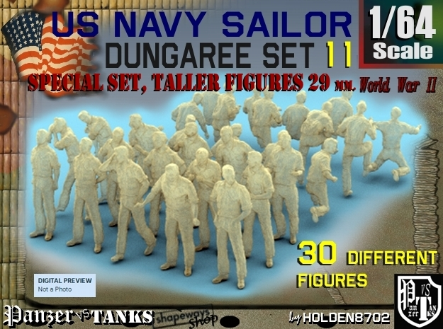1-64 US Navy Dungaree TALLER Set 11 in Smooth Fine Detail Plastic