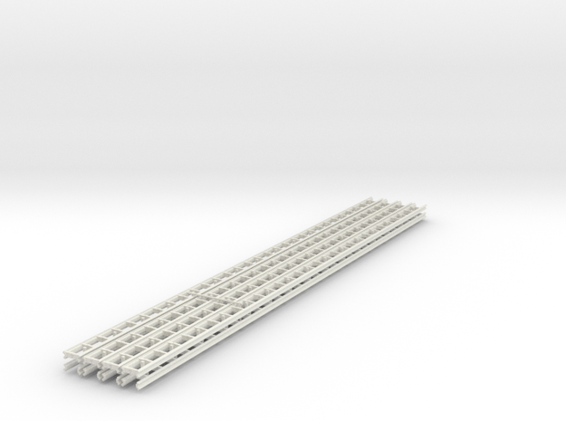[8st] Geleiderail 30cm H0/1:87 in White Natural Versatile Plastic