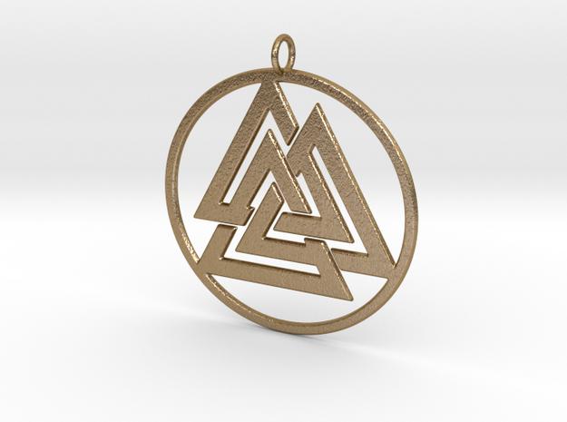 Odin valknut in Polished Gold Steel