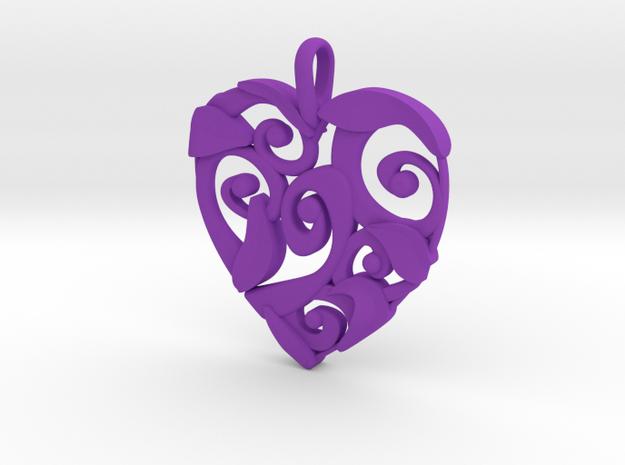 Curly Heart Pendant in Purple Processed Versatile Plastic