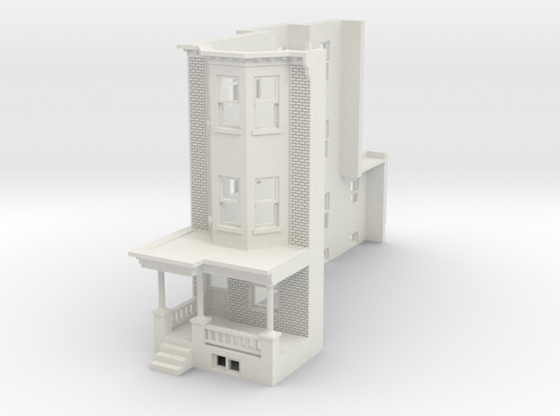 HO scale WEST PHILLY 3S ROW HOME 87 Brick LD in White Natural Versatile Plastic