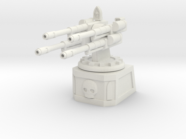 Quad Automatic Cannon Emplacement in White Natural Versatile Plastic