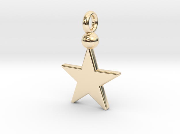 Star Pendant 1 in 14k Gold Plated Brass