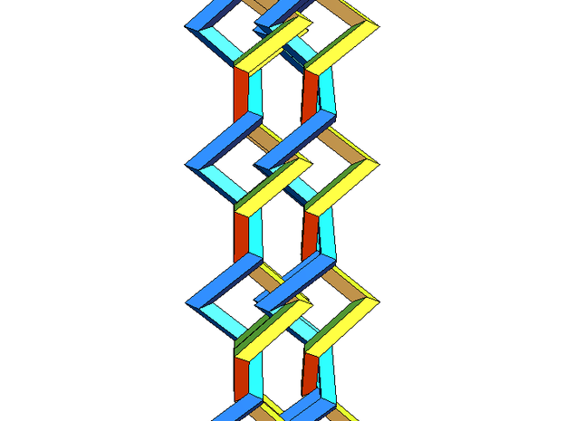Three-dimensional z3 Chain-link Fence (Medium) 3d printed Side view 2