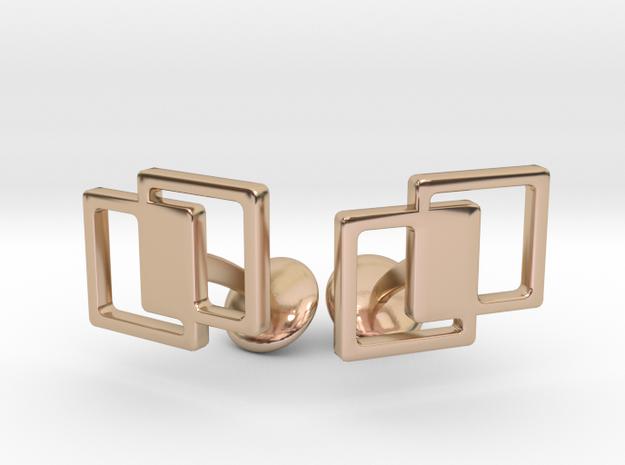 Interlocking Cufflinks in 14k Rose Gold Plated Brass