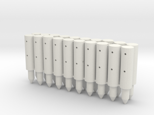 BP2-20, Round Cable Barrier Posts, 20 pcs in White Natural Versatile Plastic