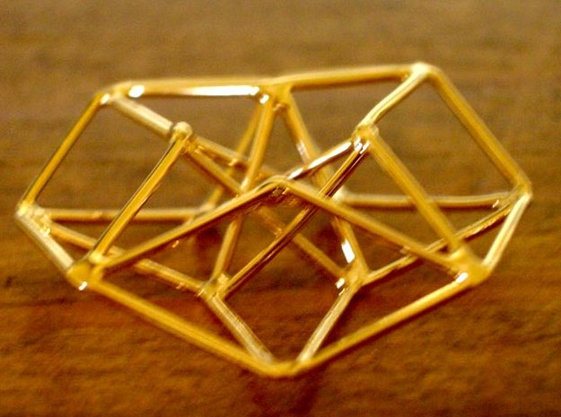Toroidal Hypercube 100mm 3mm Time Traveller 3d printed Handmade Gold Plated Siver version (not Shapeways)