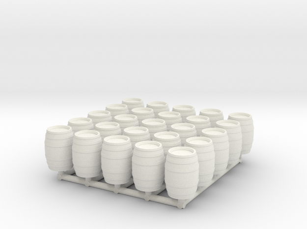 25 N/OO Scale Wine Barrels in White Natural Versatile Plastic: 1:160 - N