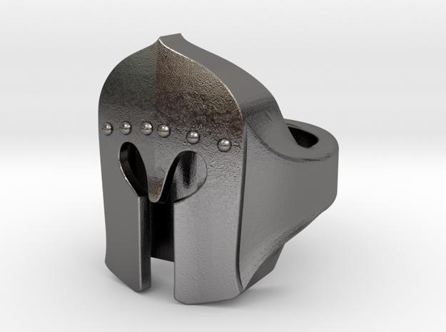 """Pietro"" Barbute Ring in Polished Nickel Steel: 5.5 / 50.25"