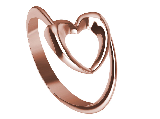 Show the love: Heart Ring in 14k Rose Gold: 7 / 54