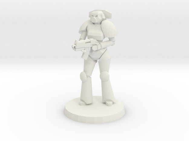 Female Space Trooper in White Natural Versatile Plastic