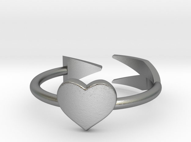 Arrow with one heart ring 17mm in Natural Silver