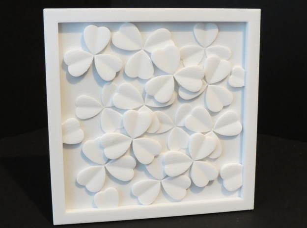 Clover Leaf wall sculpture in White Natural Versatile Plastic