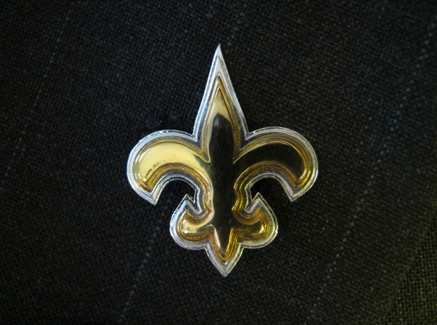 Fleur de Lis (GOLD FRONT) in Natural Silver