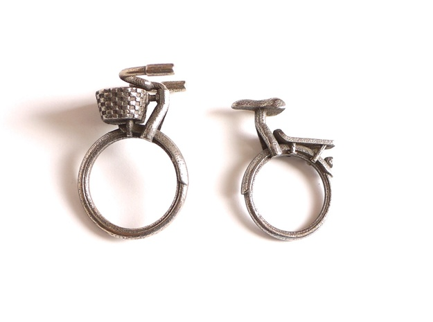 Bicycle Rings - Front Portion with Basket  in Stainless Steel: 7 / 54