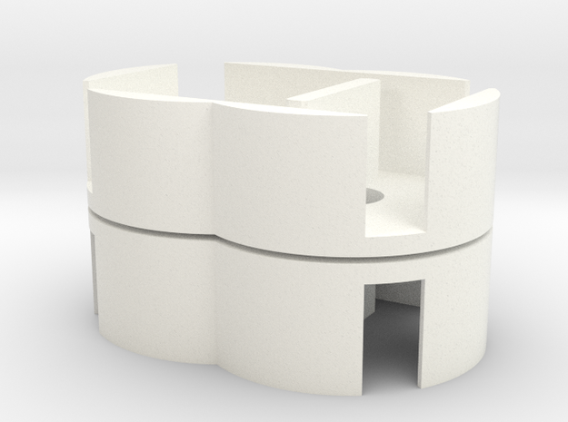 D6 Holder - Expanded (pair) in White Strong & Flexible Polished