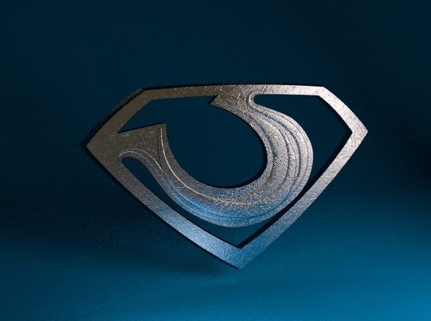 "Zod ""Man of Steel"" Emblem 3d printed Stainless Steel Render"