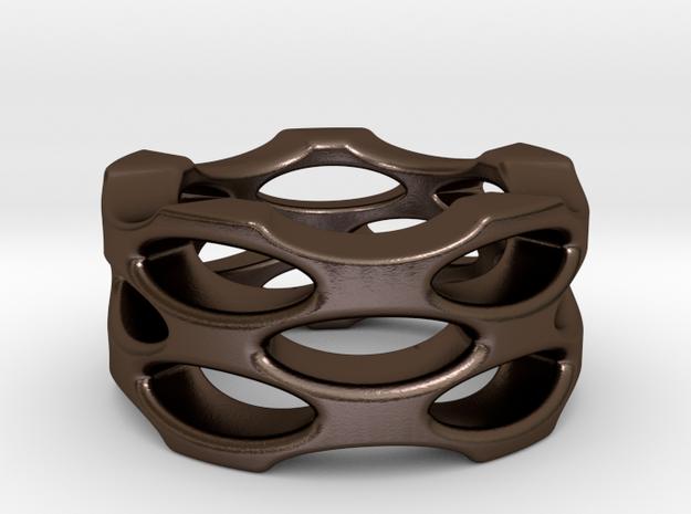 Ellipse Ring in Polished Bronze Steel