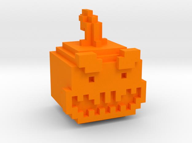 Pixel Pumpkin Head in Orange Processed Versatile Plastic