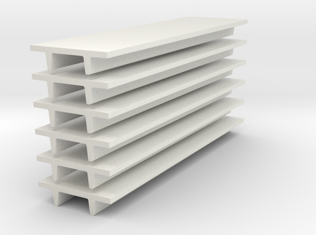 'N Scale' - (6) 8' Wide Double Tee x 30' Long x 24 in White Natural Versatile Plastic