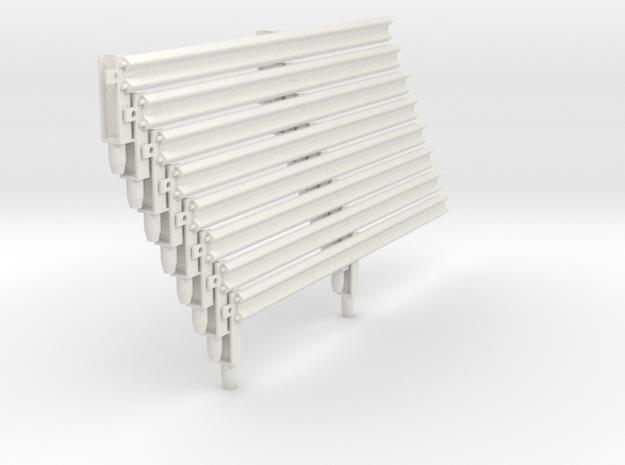 Armco Rail on 2  I-Beam Posts, 8 pcs in White Natural Versatile Plastic