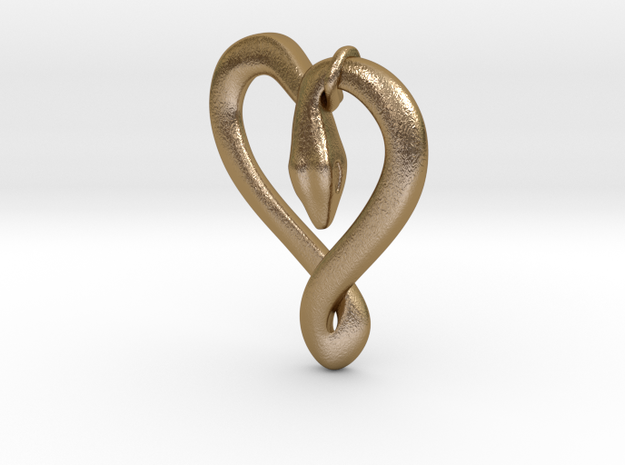 Snake Pendant in Polished Gold Steel