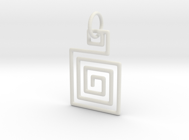 Square Spiral Pendant in White Natural Versatile Plastic