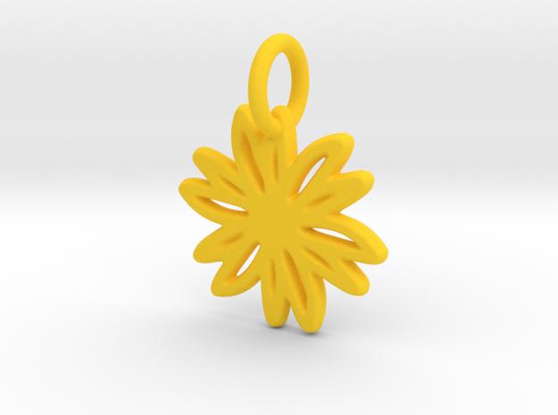 Daisy Pendant/Charm - 24mm, 20mm, 16mm, 12mm in Yellow Processed Versatile Plastic: Medium