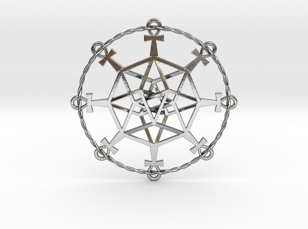 "Ultra TesserAnkh 2.6"" in Polished Silver"