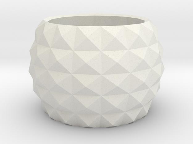Modern round planter in White Natural Versatile Plastic