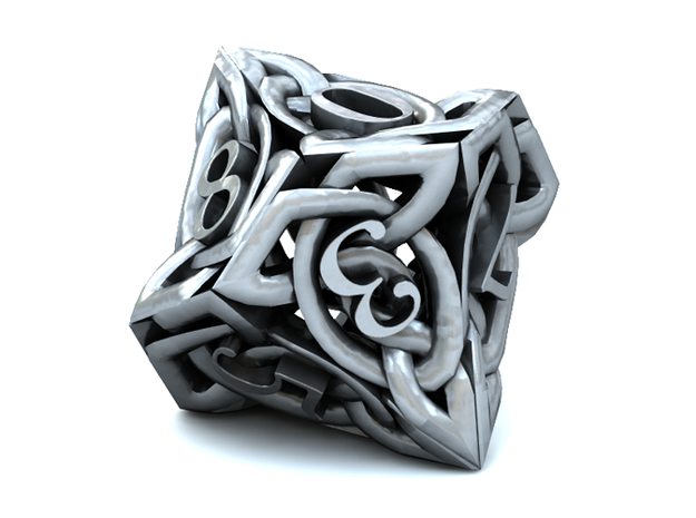 Celtic Percentile D10, D100 Two Dice Set 3d printed 3D render