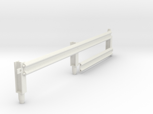 Armco Rail Sample 2, 1/32 Scale in White Natural Versatile Plastic